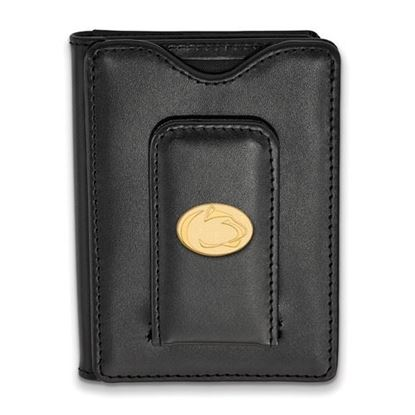 Picture of Penn State University Nittany Lions Sterling Silver Gold Plated Black Leather Wallet