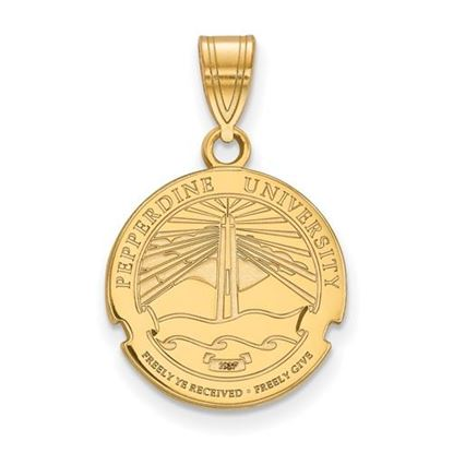 Picture of Pepperdine University Waves Sterling Silver Gold Plated Medium Crest Pendant