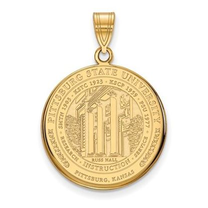 Picture of Pittsburgh State University Gorillas Sterling Silver Gold Plated Large Crest Pendant
