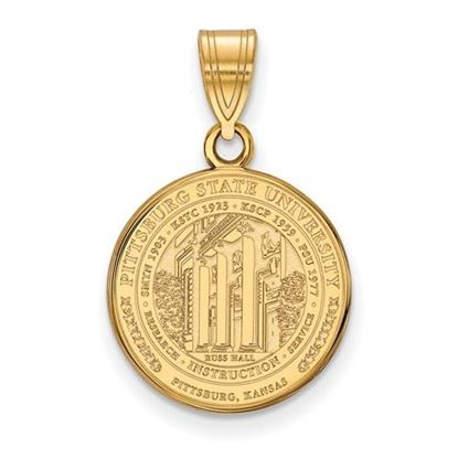 Picture of Pittsburgh State University Gorillas Sterling Silver Gold Plated Medium Crest Pendant