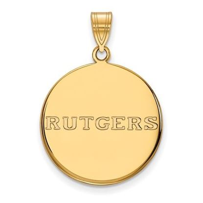 Picture of Rutgers University Scarlet Knights Sterling Silver Gold Plated Large Disc Pendant
