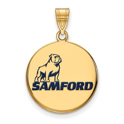 Picture of Samford University Bulldogs Sterling Silver Gold Plated Large Enameled Pendant
