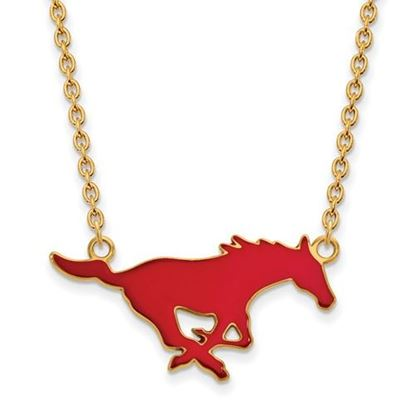 Picture of Southern Methodist University Mustangs Sterling Silver Gold Plated Large Enameled Necklace
