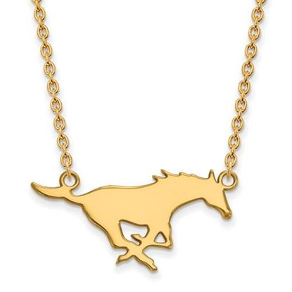 Picture of Southern Methodist University Mustangs Sterling Silver Gold Plated Large Necklace