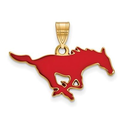 Picture of Southern Methodist University Mustangs Sterling Silver Gold Plated Medium Enameled Pendant