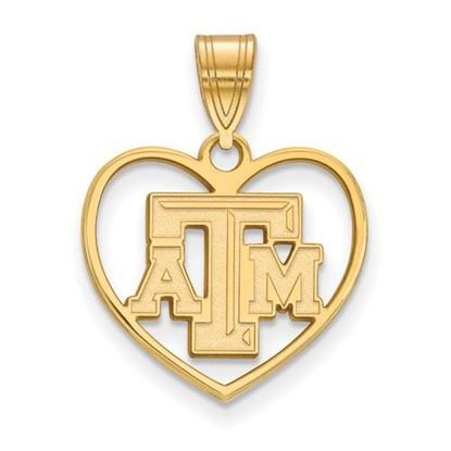 Picture of Texas A&M University Aggies Sterling Silver Gold Plated Heart Pendant