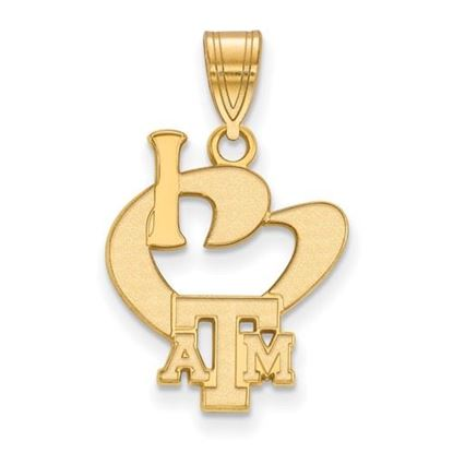 Picture of Texas A&M University Aggies Sterling Silver Gold Plated Large I Love Logo Pendant