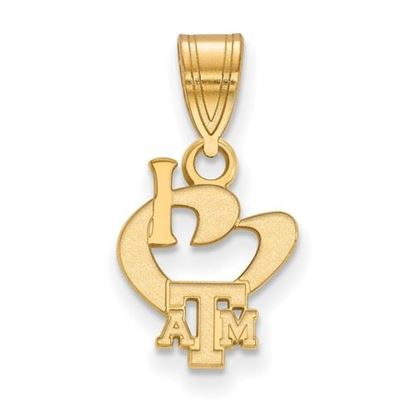 Picture of Texas A&M University Aggies Sterling Silver Gold Plated Small I Love Logo Pendant