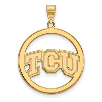 Picture of Texas Christian University Horned Frogs Sterling Silver Gold Plated Large Circle Pendant