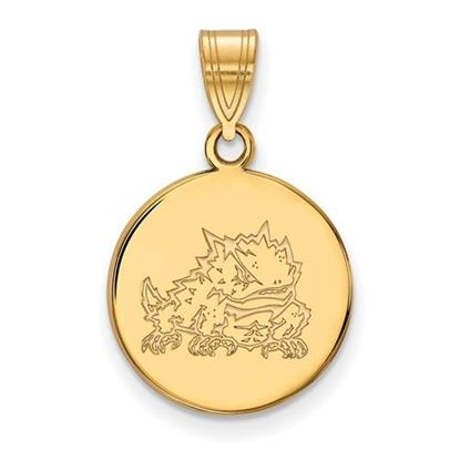 Picture of Texas Christian University Horned Frogs Sterling Silver Gold Plated Medium Disc Pendant