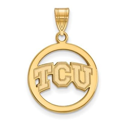 Picture of Texas Christian University Horned Frogs Sterling Silver Gold Plated Small Circle Pendant