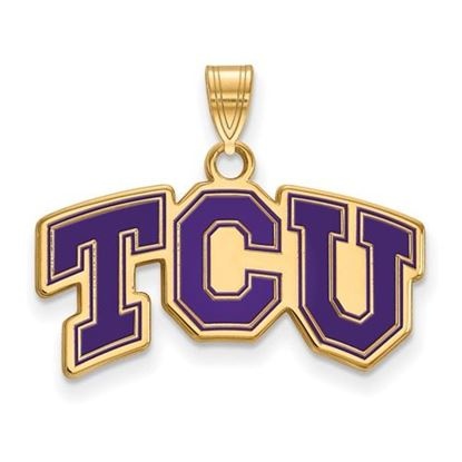 Picture of Texas Christian University Horned Frogs Sterling Silver Gold Plated Small Enameled Pendant