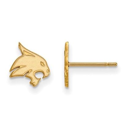 Picture of Texas State University Bobcats Sterling Silver Gold Plated Extra Small Post Earrings