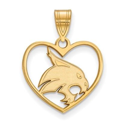 Picture of Texas State University Bobcats Sterling Silver Gold Plated Heart Pendant