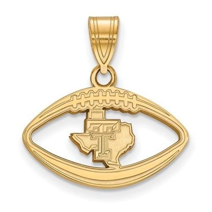 Picture of Texas Tech University Red Raiders Sterling Silver Gold Plated Football Pendant