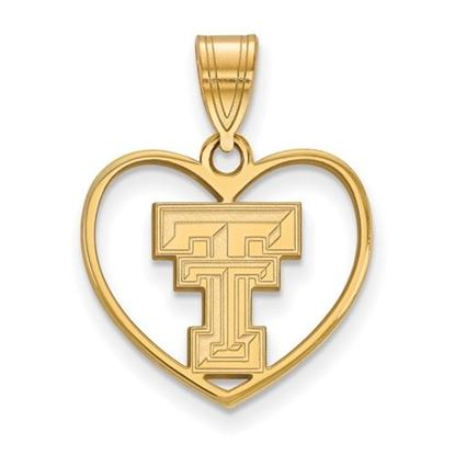 Picture of Texas Tech University Red Raiders Sterling Silver Gold Plated Heart Pendant