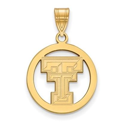 Picture of Texas Tech University Red Raiders Sterling Silver Gold Plated Small Circle Pendant