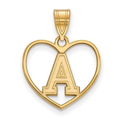 Picture of U.S. Military Academy Black Knights Sterling Silver Gold Plated Heart Pendant