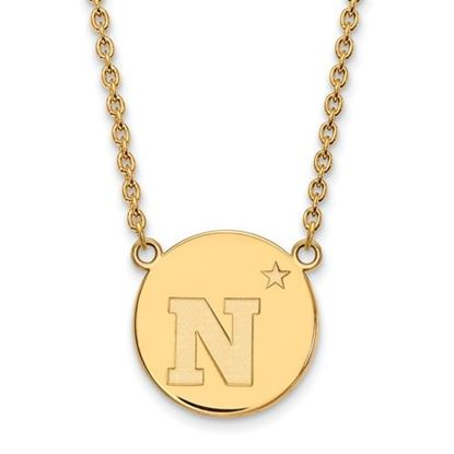 Picture of U.S. Naval Academy Midshipmen Sterling Silver Gold Plated Large Disc Necklace