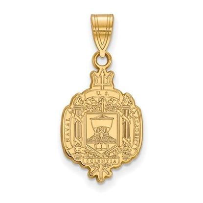 Picture of U.S. Naval Academy Midshipmen Sterling Silver Gold Plated Large Crest Pendant