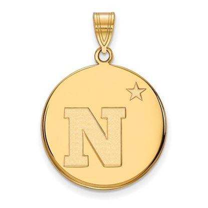 Picture of U.S. Naval Academy Midshipmen Sterling Silver Gold Plated Large Disc Pendant