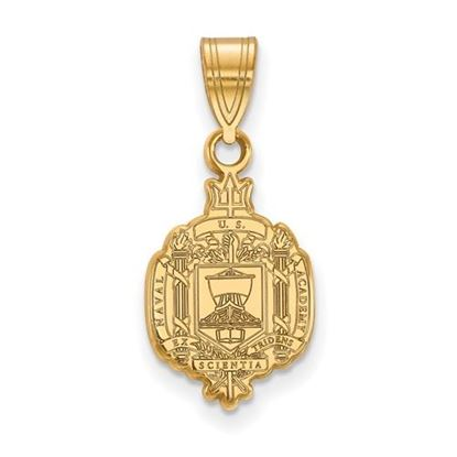 Picture of U.S. Naval Academy Midshipmen Sterling Silver Gold Plated Medium Crest Pendant