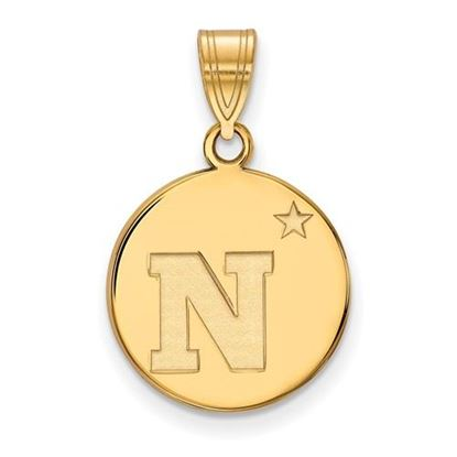Picture of U.S. Naval Academy Midshipmen Sterling Silver Gold Plated Medium Disc Pendant