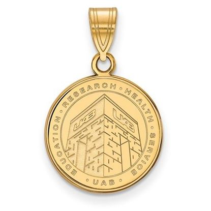 Picture of University of Alabama at Birmingham Blazers Sterling Silver Gold Plated Medium Crest Pendant