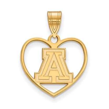 Picture of University of Arizona Wildcats Sterling Silver Gold Plated Heart Pendant