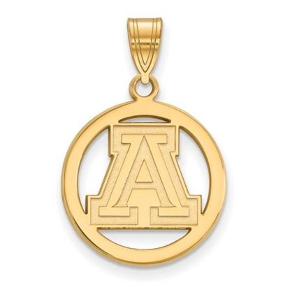 Picture of University of Arizona Wildcats Sterling Silver Gold Plated Small Circle Pendant