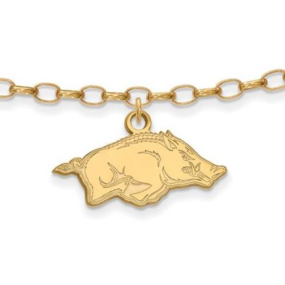 Picture of University of Arkansas Razorbacks Sterling Silver Gold Plated Anklet