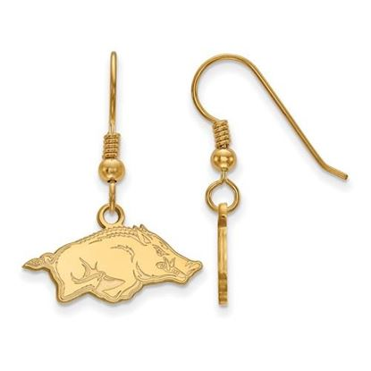 Picture of University of Arkansas Razorbacks Sterling Silver Gold Plated Extra Small Dangle Earrings