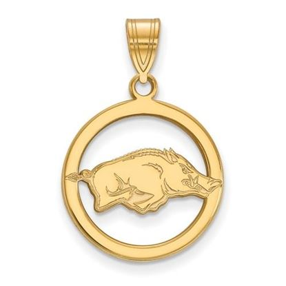 Picture of University of Arkansas Razorbacks Sterling Silver Gold Plated Small Circle Pendant