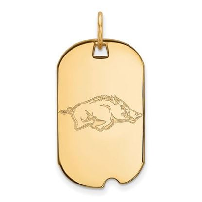Picture of University of Arkansas Razorbacks Sterling Silver Gold Plated Small Dog Tag