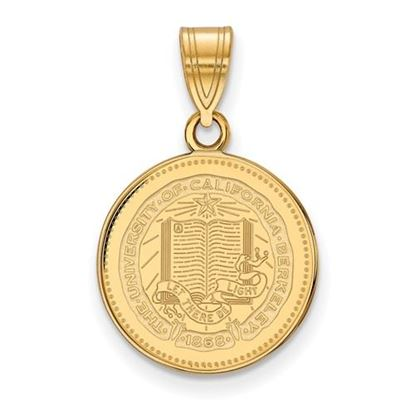 Picture of University of California Berkeley Golden Bears Sterling Silver Gold Plated Medium Crest Pendant