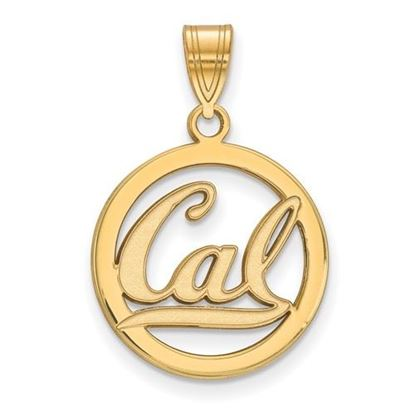Picture of University of California Berkeley Golden Bears Sterling Silver Gold Plated Small Circle Pendant