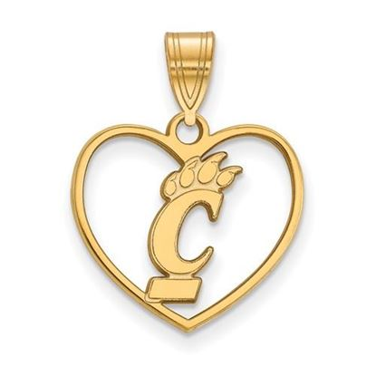 Picture of University of Cincinnati Bearcats Sterling Silver Gold Plated Heart Pendant