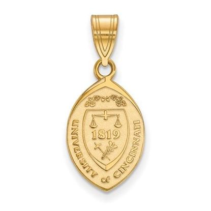 Picture of University of Cincinnati Bearcats Sterling Silver Gold Plated Medium Crest Pendant
