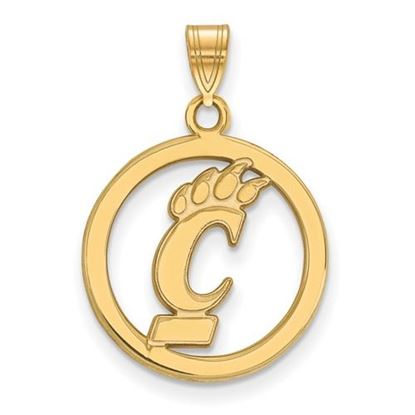 Picture of University of Cincinnati Bearcats Sterling Silver Gold Plated Small Circle Pendant