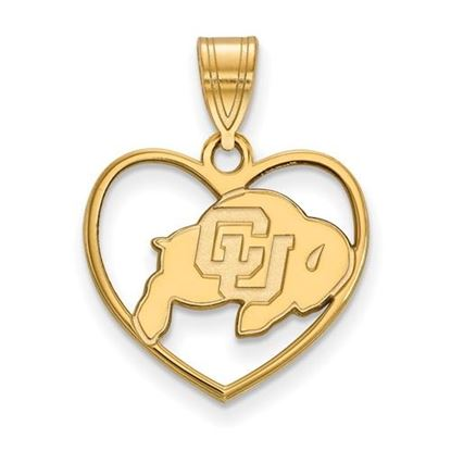 Picture of University of Colorado Buffaloes Sterling Silver Gold Plated Heart Pendant