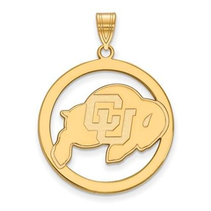 Picture of University of Colorado Buffaloes Sterling Silver Gold Plated Large Circle Pendant