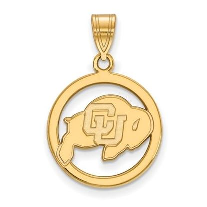Picture of University of Colorado Buffaloes Sterling Silver Gold Plated Small Circle Pendant