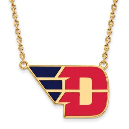 Picture of University of Dayton Flyers Sterling Silver Gold Plated Large Enameled Necklace