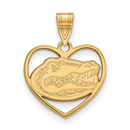 Picture of University of Florida Gators Sterling Silver Gold Plated Heart Pendant