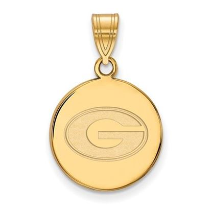 Picture of University of Georgia Bulldogs Sterling Silver Gold Plated Medium Disc Pendant