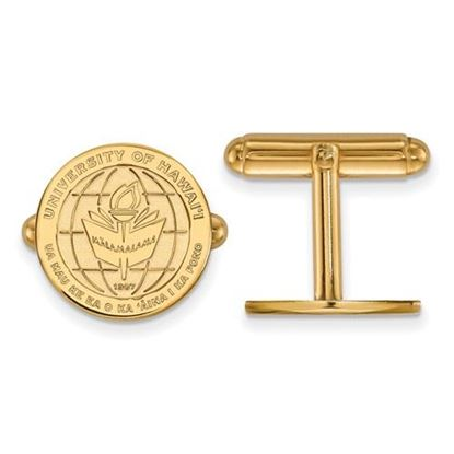 Picture of University of Hawaii Rainbow Warriors Sterling Silver Gold Plated Crest Cuff Links