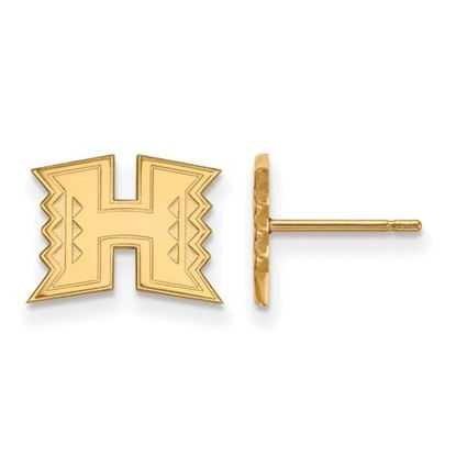 Picture of University of Hawaii Rainbow Warriors Sterling Silver Gold Plated Extra Small Post Earrings