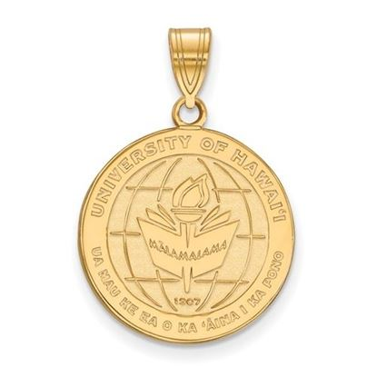 Picture of University of Hawaii Rainbow Warriors Sterling Silver Gold Plated Large Crest Pendant