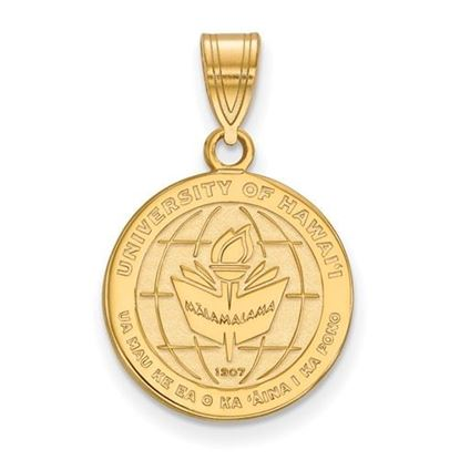 Picture of University of Hawaii Rainbow Warriors Sterling Silver Gold Plated Medium Crest Pendant