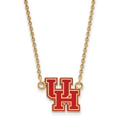 Picture of University of Houston Cougars Sterling Silver Gold Plated Small Enameled Necklace